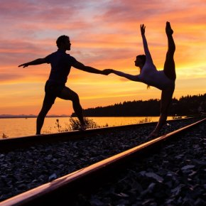 Ballet duet at sunset