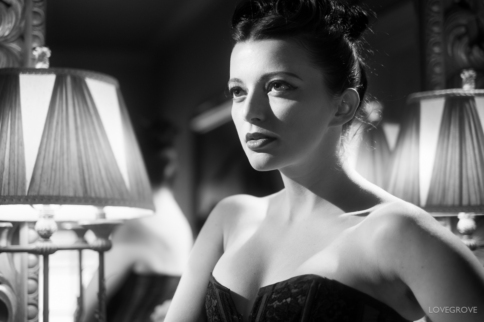 Helen Diaz in Hollywood starlet attire.