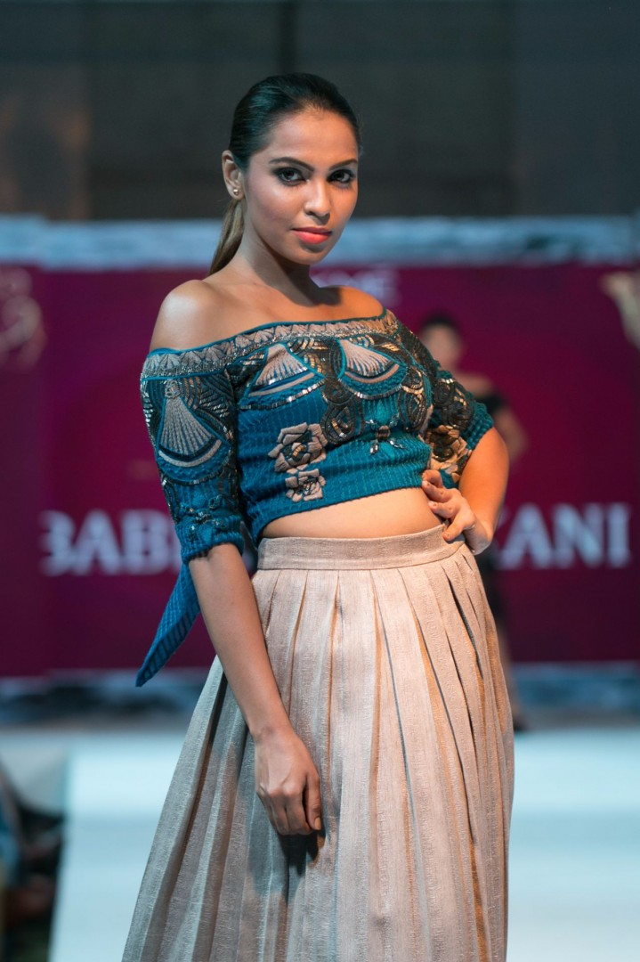 Model poses during 'Lakme Fashion Week - 2016' at The Kingsbury Hotel, Colombo, Sri Lanka