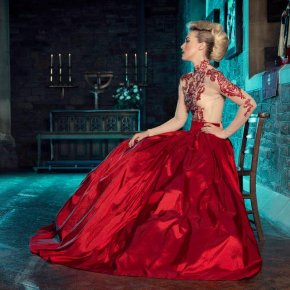 Red silk taffeta and lace ball gown